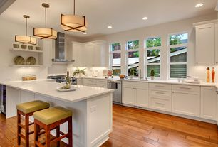 Traditional Kitchen with Simple granite counters, Subway Tile, Pendant light, Breakfast bar, Flush, U-shaped, Arctic white