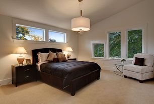 Contemporary Master Bedroom with High ceiling, Carpet, Pendant light