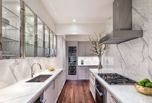 """Modern Kitchen with Flat panel cabinets, Complex marble counters, 36"""" wall range hood (trhsmocek-36), Complex Marble, Flush"""