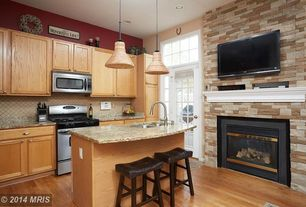 Traditional Kitchen with Stone Tile, Simple granite counters, Brick wall, Veneerstonemodel # 97494internet #202189922