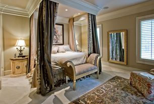 Traditional Master Bedroom with Carpet, Box ceiling, Crown molding