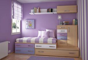 Contemporary Kids Bedroom with Built-in bookshelf, Laminate floors, can lights, Paint, Casement, Bunk beds, Standard height