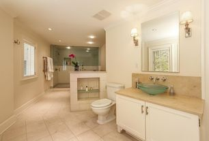 Modern Master Bathroom with can lights, Framed Partial Panel, Limestone counters, Standard height, Shower, Vessel sink