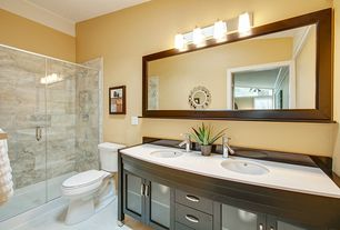 Modern 3/4 Bathroom with Double sink, Limestone counters, Undermount sink, European Cabinets, Flat panel cabinets, Flush