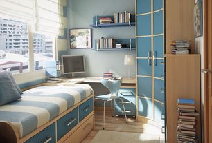Contemporary Guest Bedroom with Standard height, Laminate floors, specialty window, Built-in bookshelf
