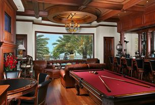 Game Room with Exposed beam, specialty door, Laminate floors, Crown molding, Balcony, Columns