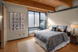 Contemporary Guest Bedroom with French doors, Sierra Navy & White Cotton Reversible Duvet Cover Set, High ceiling
