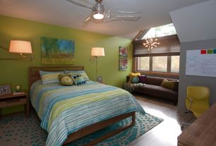 Kids Bedroom with Ceiling fan, flush light, Laminate floors