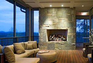 Contemporary Living Room with Box ceiling, Hardwood floors, stone fireplace
