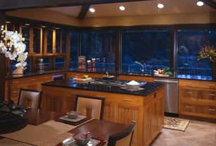Contemporary Kitchen with Frameless shaker cabinets, Durasupreme cabinet - craftsman panel in cherry with glaze, Glass panel