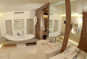 Contemporary Master Bathroom with drop in bathtub, Rain shower, Built in shelves, Undermount sink, Handheld showerhead