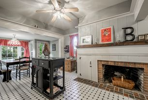 Cottage Kitchen with French doors, Kitchen island, Breakfast nook, Flush, Ceiling fan, double-hung window, One-wall