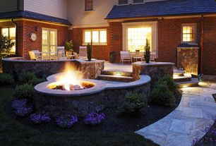 Traditional Patio with Pathway, exterior stone floors, French doors, Fire pit