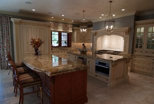"Traditional Kitchen with Emser tile natural stone 18"" x 18"" marble tile in milano beige, Complex granite counters"
