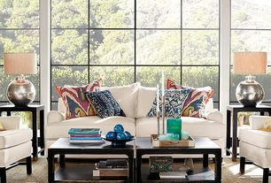 Transitional Living Room with High ceiling, Hardwood floors, Lafayette Ikat Pillow Cover, Nori Hammered Table Lamp, Carpet