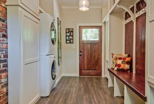 Traditional Laundry Room with Built-in bookshelf, Hardwood floors, Pendant light, Z-lite albion 1 light drum foyer pendant