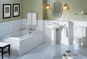 Traditional Full Bathroom with Kohler Devonshire Pedestal Combo Bathroom Sink, Uttermost Franklin Mirror, Pedestal sink
