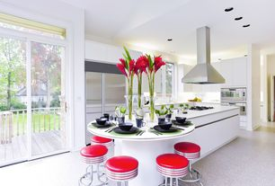 Contemporary Kitchen with Breakfast bar, Paint, can lights, Kitchen island, Dupont - corian designer white, double wall oven