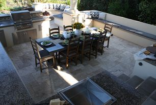 Modern Patio with Outdoor kitchen, MS International Pavers Paredon Crema, Fire pit, exterior stone floors, Pathway