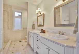 Cottage Full Bathroom with Flat panel cabinets, Powder room, Pental  Bianco Perlino Polished Marble, Transom window