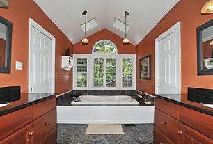 Traditional Full Bathroom with wall-mounted above mirror bathroom light, drop in bathtub, Raised panel, Powder room, Paint