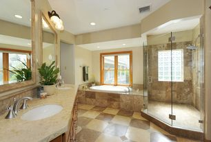 Craftsman Full Bathroom with Complex granite counters, Undermount sink, Handheld showerhead, Double sink, Stone Tile