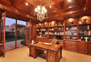 Traditional Home Office with Carpet, Built-in bookshelf, Box ceiling, French doors