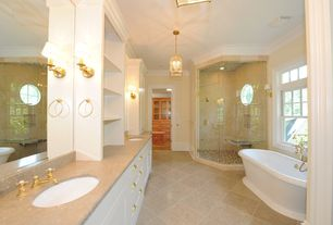 Traditional Master Bathroom with Simple Marble, Wall sconce, frameless showerdoor, Master bathroom, Simple marble counters