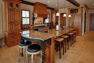 Traditional Kitchen with Glass panel, High ceiling, Kitchen island, Undermount sink, Breakfast bar, Simple granite counters