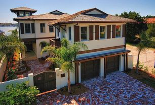 Tropical Garage with Standard height, complex marble floors, double-hung window