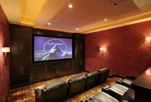 Traditional Home Theater with Carpet