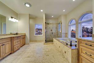 Mediterranean Full Bathroom with Master bathroom, frameless showerdoor, MS International Jura Grey Limestone, Undermount sink