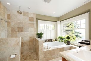 Modern Master Bathroom with drop in bathtub, can lights, partial backsplash, Drop-in sink, Master bathroom, Stone Tile, Paint