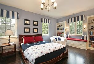 Traditional Kids Bedroom with Chandelier, Built-in bookshelf, Wainscotting, Standard height, Hardwood floors, Casement