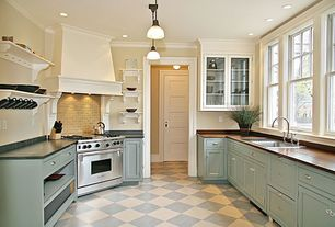 Contemporary Kitchen with Wood counters, L-shaped, Flush, Undermount sink, Crown molding, Rejuvenation eastmoreland pendant