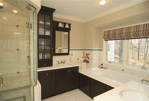 Modern Master Bathroom with flush light, Simple marble counters, Master bathroom, Undermount sink, frameless showerdoor