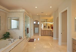 Traditional Full Bathroom with Choose Frameless Pivot Hinge Shower Door Configurations, Raised panel, Soapstone counters