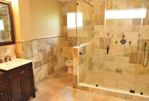 Modern Master Bathroom with DecoLav Classic Undermount Bathroom Sink with Overflow, frameless showerdoor, Wood counters