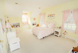 Traditional Kids Bedroom with Juliette Bedroom Set, Window seat, Built-in bookshelf, High ceiling, Carpet