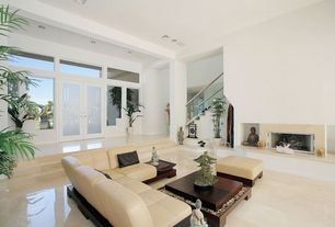 Contemporary Living Room with French doors, Fireplace, picture window, Transom window, can lights, High ceiling