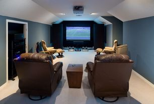 Modern Home Theater with Carpet, High ceiling