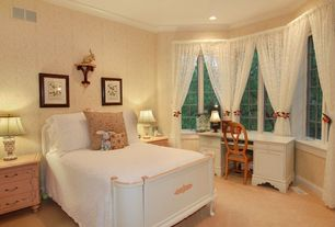 Country Guest Bedroom with no bedroom feature, High ceiling, can lights, Crown molding, Casement, Carpet
