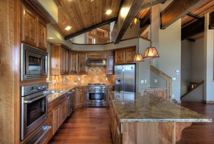 Craftsman Kitchen with Kitchen island, Large Ceramic Tile, wall oven, Exposed beam, built-in microwave, L-shaped, Paint