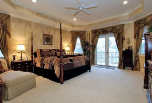 Traditional Guest Bedroom with French doors, interior wallpaper, Ceiling fan, Carpet, double-hung window, can lights
