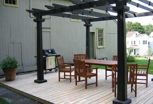 Traditional Deck with Trellis, Outdoor kitchen