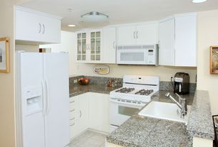 Contemporary Kitchen with Flush, Flat panel cabinets, U-shaped, Glass panel, Simple Granite, Simple granite counters