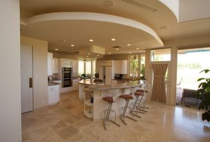 Modern Kitchen with Concrete floors, Flush, U-shaped, Breakfast bar, Simple granite counters, European Cabinets