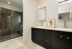 Contemporary Full Bathroom with Double sink, Rain shower, Simple granite counters, Shower, can lights, Standard height, Flush