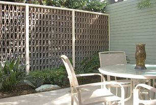 Modern Landscape/Yard with Paint, Cement patio, Out deco mahjong privacy screen