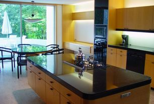 Contemporary Kitchen with Copper counters, Kitchen island, High ceiling, Corian Solid Surface Countertop in Deep Nocturne
